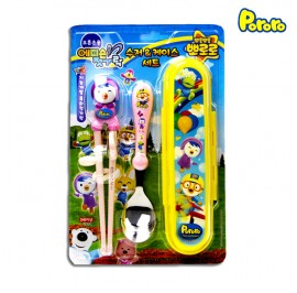 Pororo Edison Training Chopsticks Ring Set Package With Spoon And Pouch