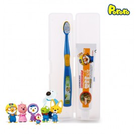 Pororo Tooth Brush Travel Set For Kids (3 Year Over) With Tooth Paste and Pouch