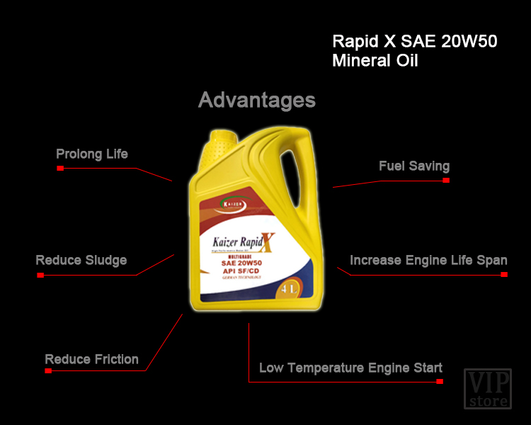 [FREE SUN SHADE] Kaizer Rapid SAE 20W-50 API SF/CD Mineral Motor Engine Oil  Lubricant 4L